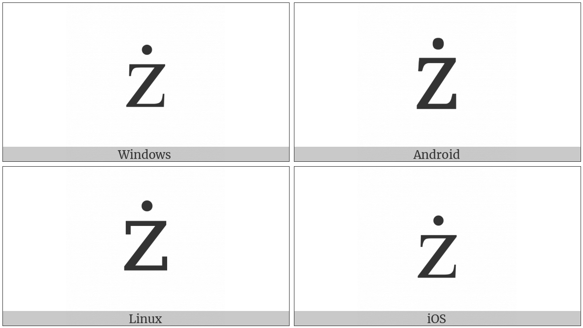 Latin Small Letter Z With Dot Above on various operating systems