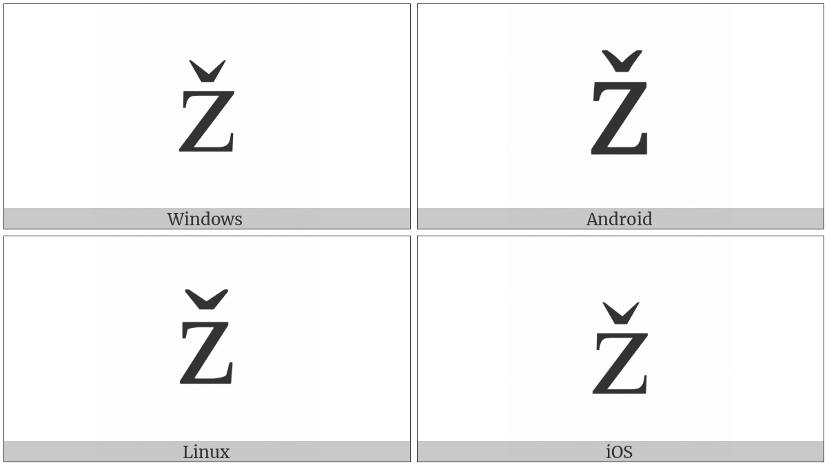 Latin Small Letter Z With Caron on various operating systems