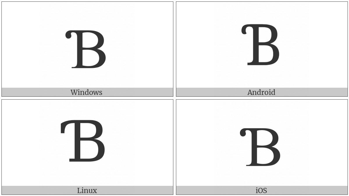 Latin Capital Letter B With Hook on various operating systems