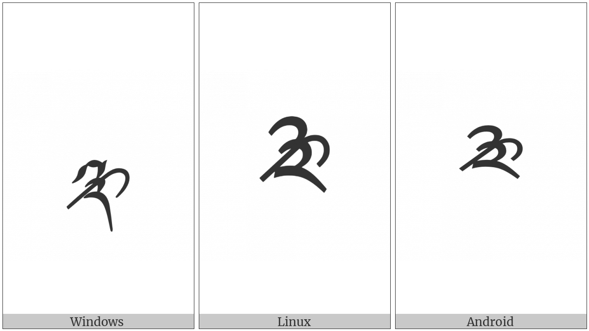 Tibetan Digit Half Three on various operating systems