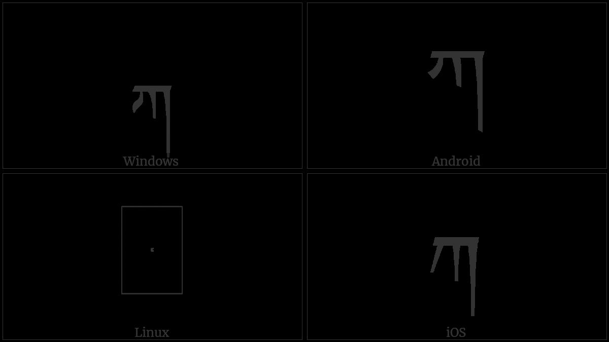 Tibetan Letter Ka on various operating systems