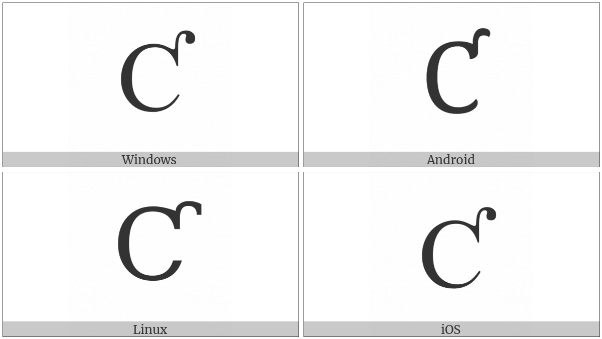 Latin Capital Letter C With Hook on various operating systems