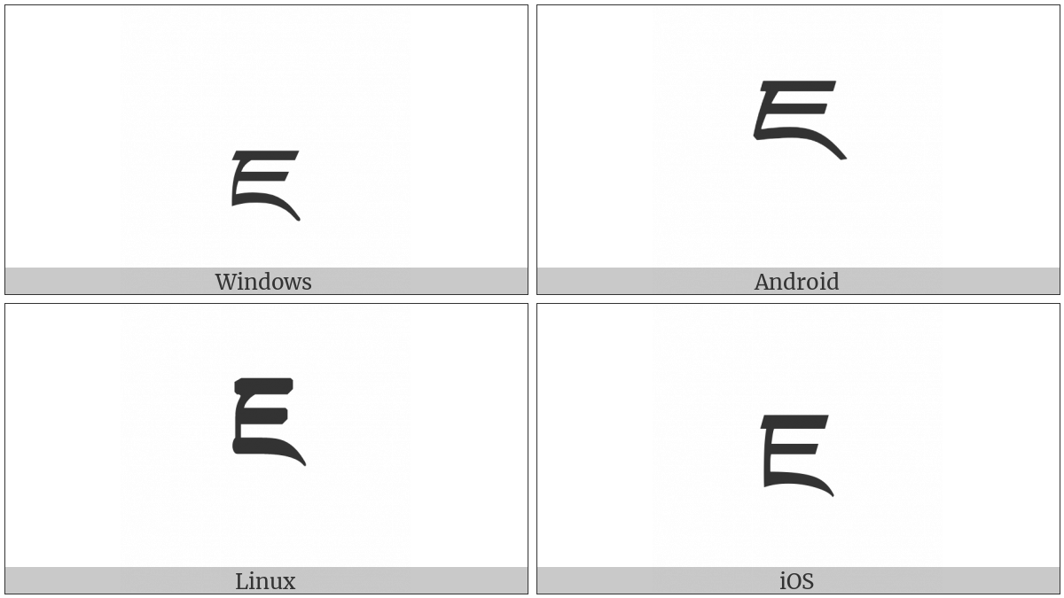 Tibetan Letter Ja on various operating systems