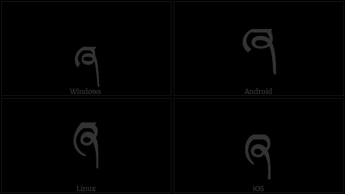 Tibetan Letter Zha on various operating systems