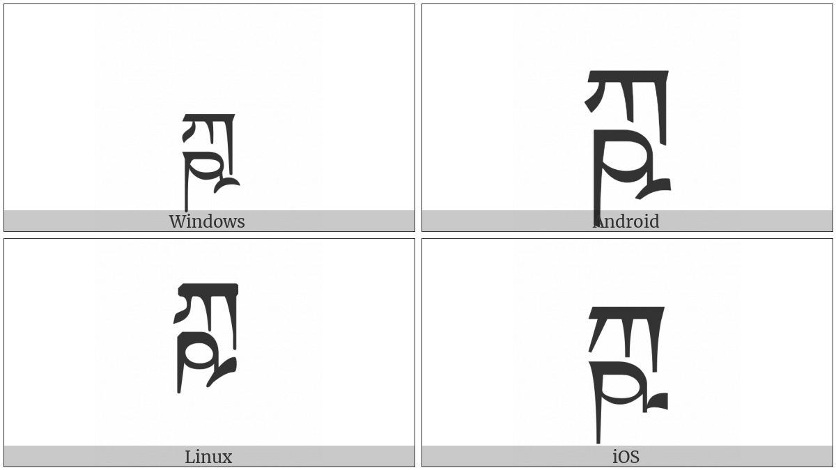 Tibetan Letter Kssa on various operating systems