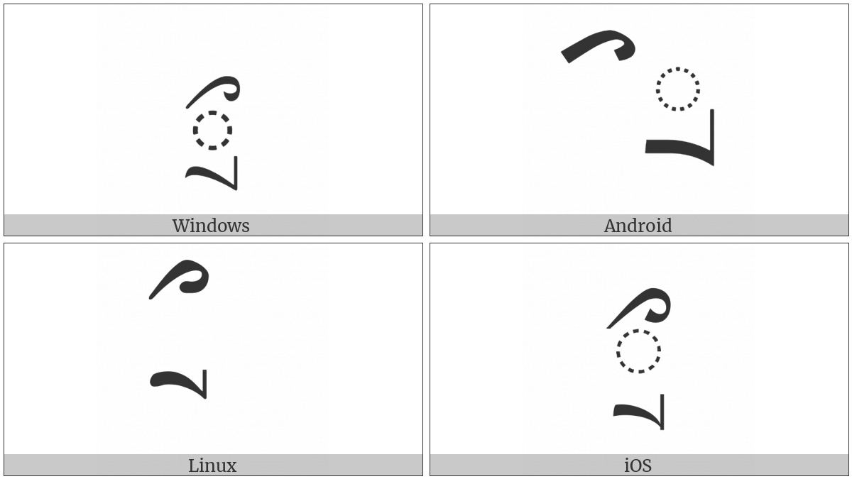Tibetan Vowel Sign Vocalic R on various operating systems