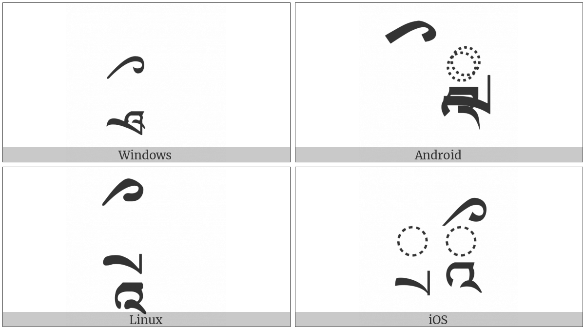 Tibetan Vowel Sign Vocalic Rr on various operating systems