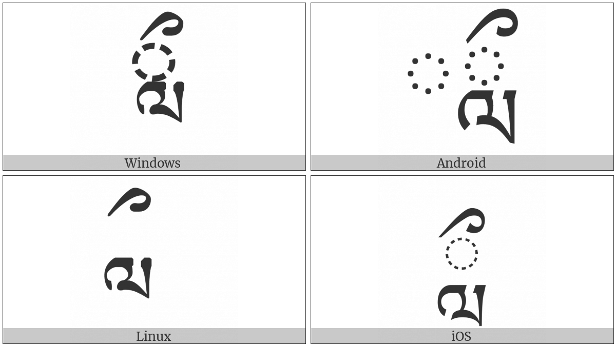 Tibetan Vowel Sign Vocalic L on various operating systems