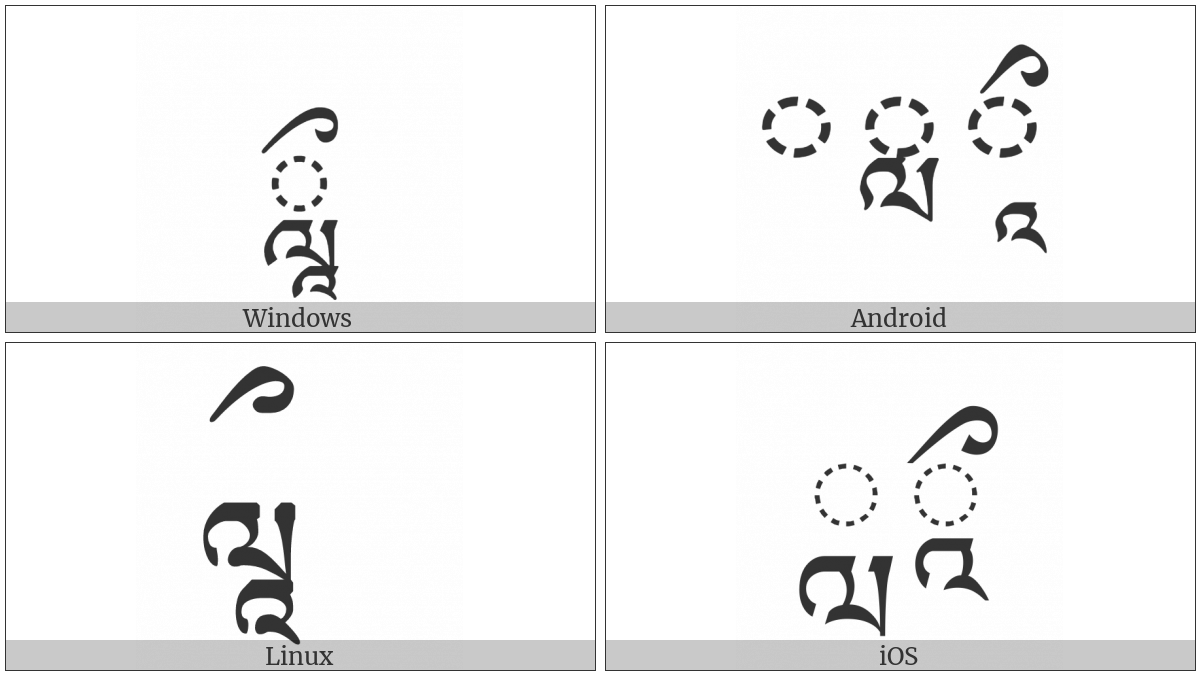 Tibetan Vowel Sign Vocalic Ll on various operating systems
