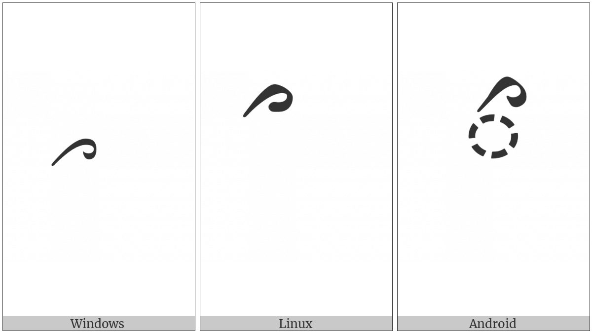 Tibetan Vowel Sign Reversed I on various operating systems