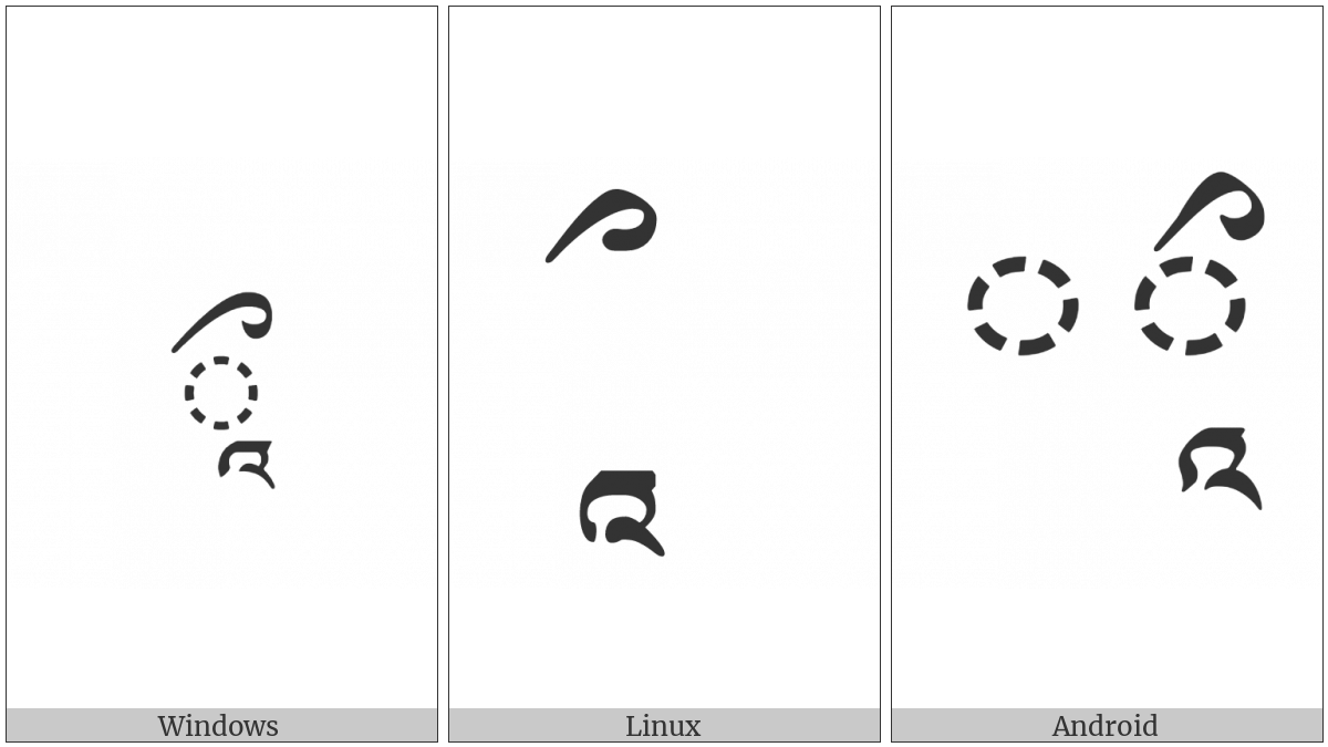 Tibetan Vowel Sign Reversed Ii on various operating systems