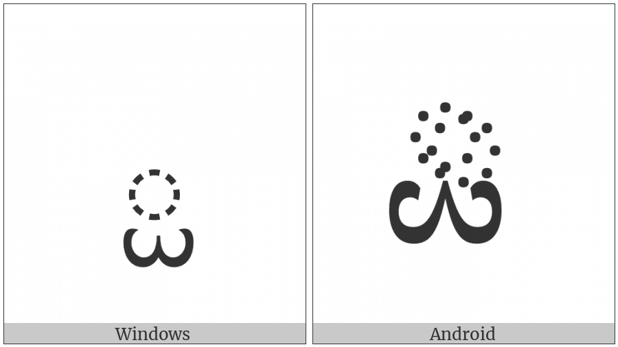 Tibetan Subjoined Sign Inverted Mchu Can on various operating systems