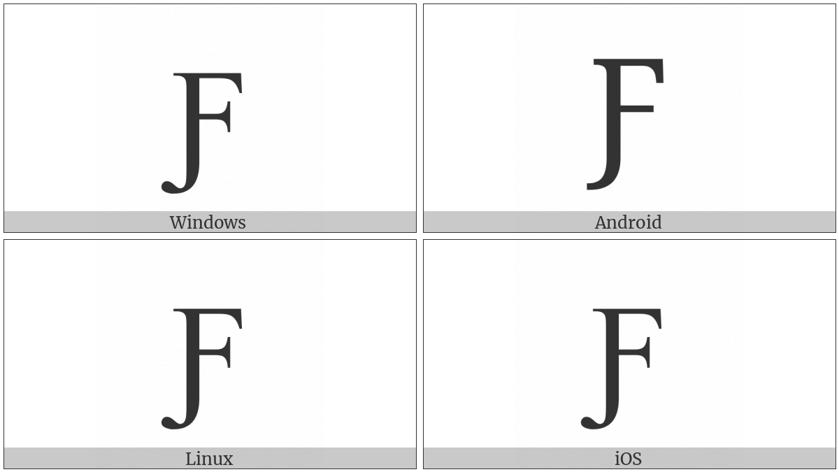 Latin Capital Letter F With Hook on various operating systems