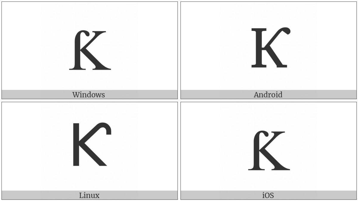 Latin Capital Letter K With Hook on various operating systems