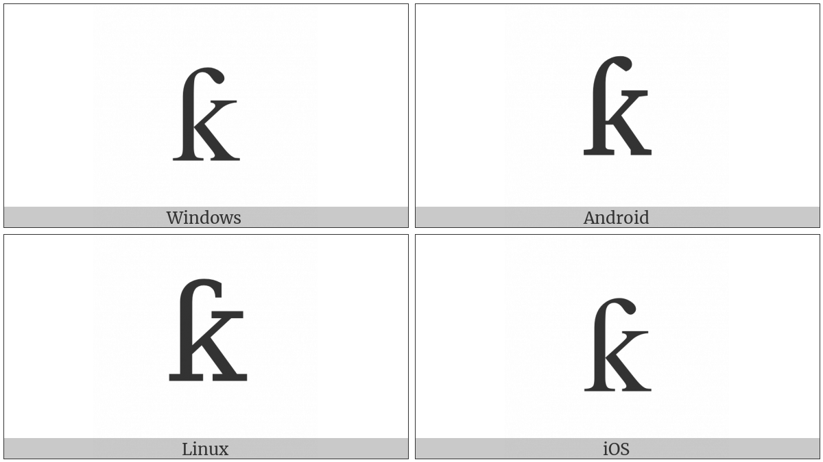 Latin Small Letter K With Hook on various operating systems