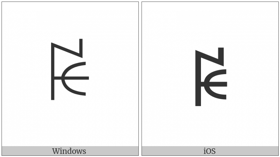 Yi Syllable Bip on various operating systems