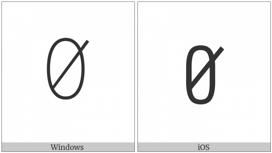 Yi Syllable Bie on various operating systems