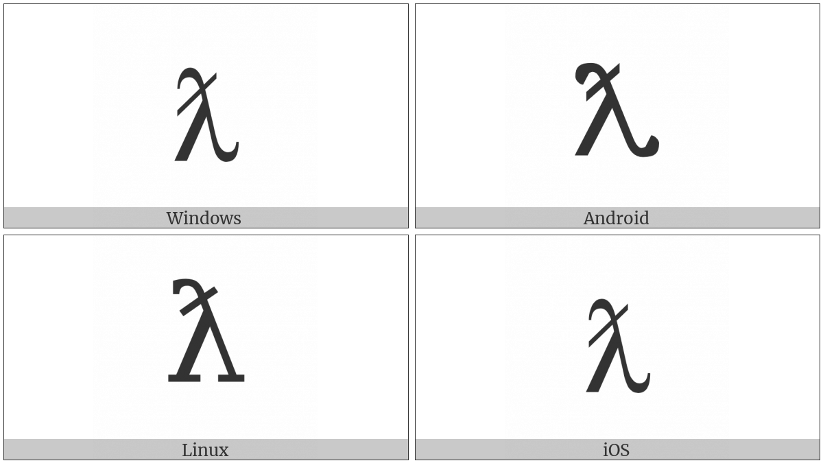 Latin Small Letter Lambda With Stroke on various operating systems