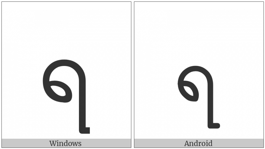 Myanmar Letter Ra on various operating systems