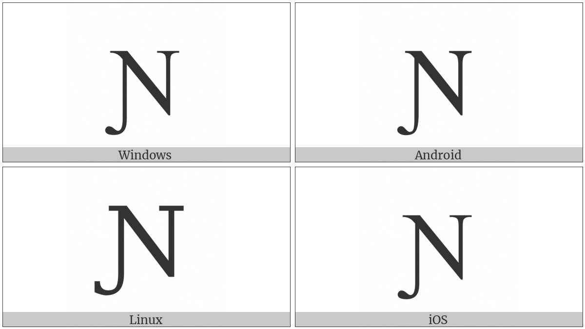 Latin Capital Letter N With Left Hook on various operating systems