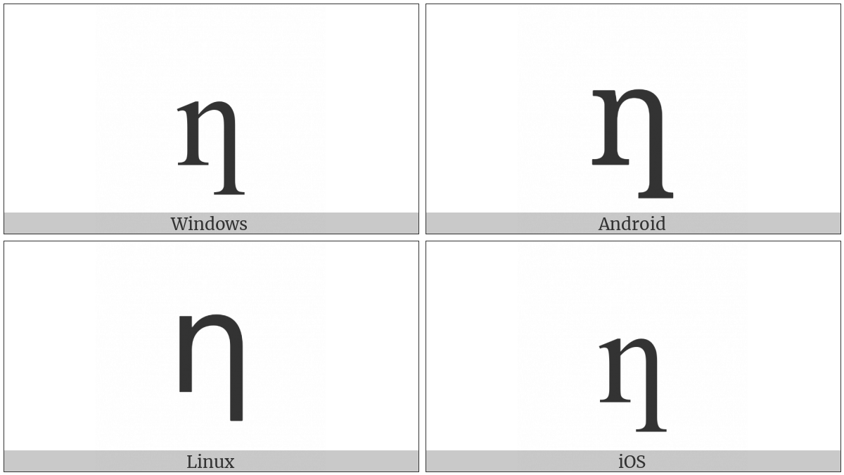 Latin Small Letter N With Long Right Leg on various operating systems