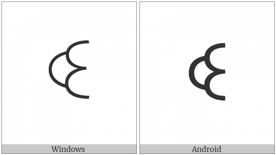 Yi Syllable Yyp on various operating systems