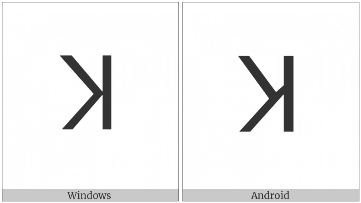 Lisu Letter Kha on various operating systems