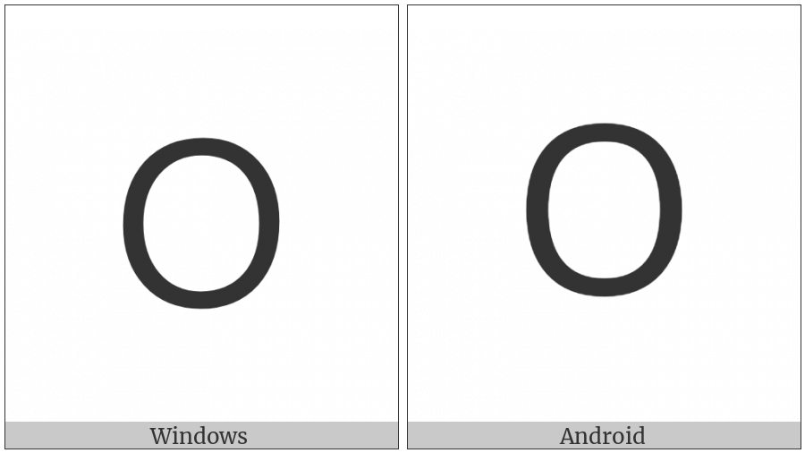 Lisu Letter O on various operating systems