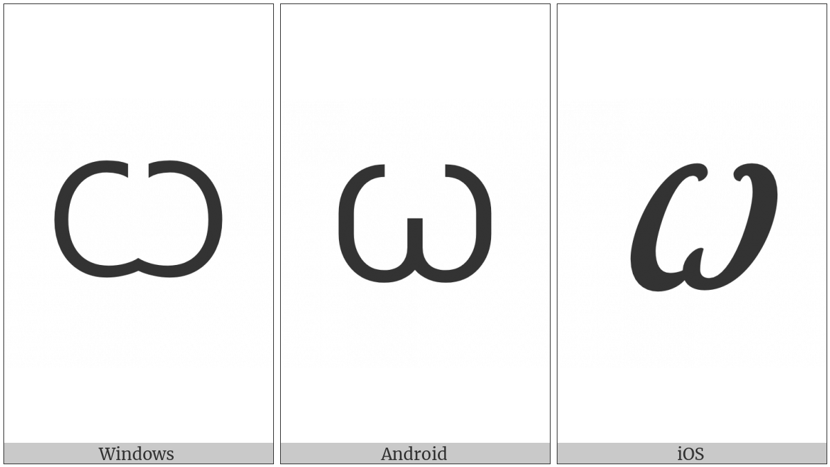 Cyrillic Capital Letter Broad Omega on various operating systems