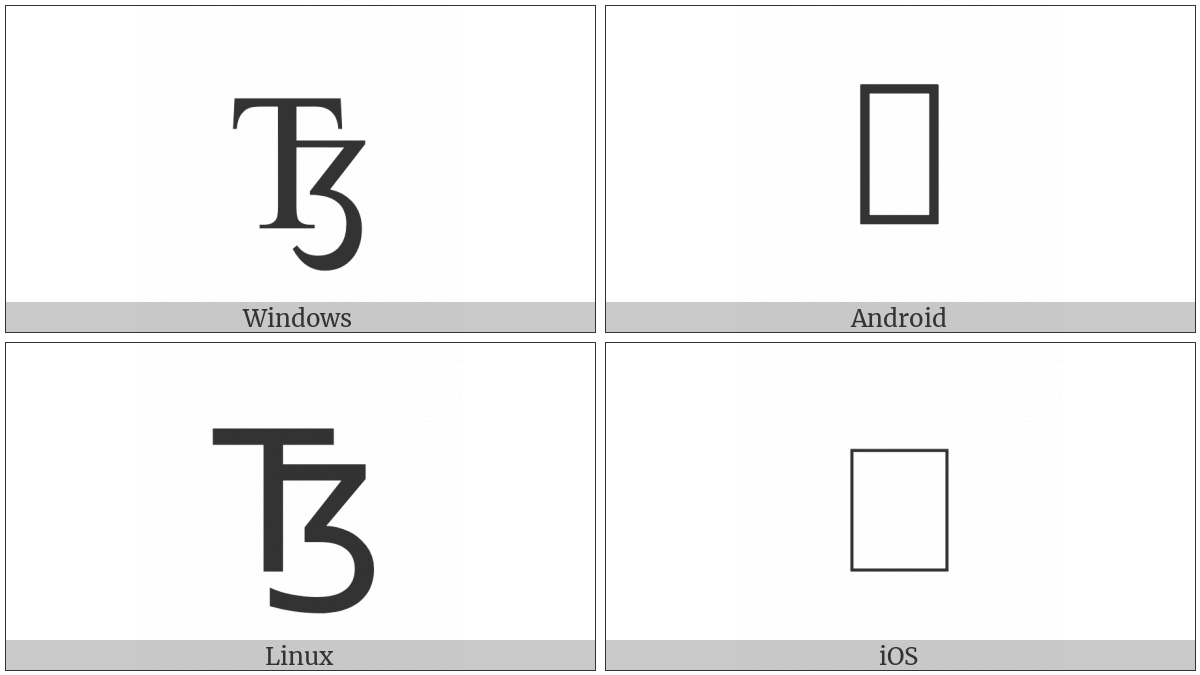 Latin Capital Letter Tz on various operating systems