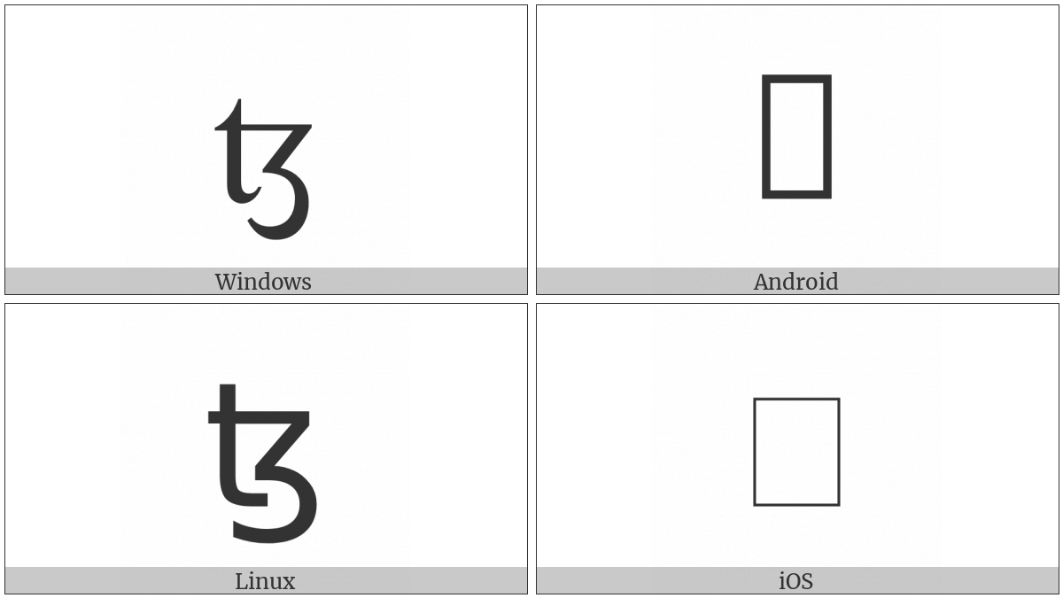 Latin Small Letter Tz on various operating systems
