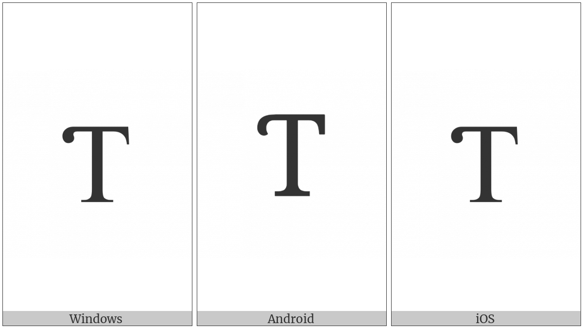 Latin Capital Letter T With Hook on various operating systems