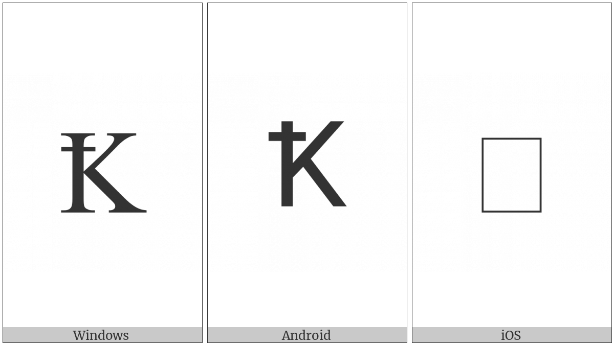 Latin Capital Letter K With Stroke on various operating systems