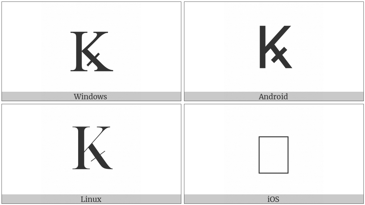 Latin Capital Letter K With Diagonal Stroke on various operating systems