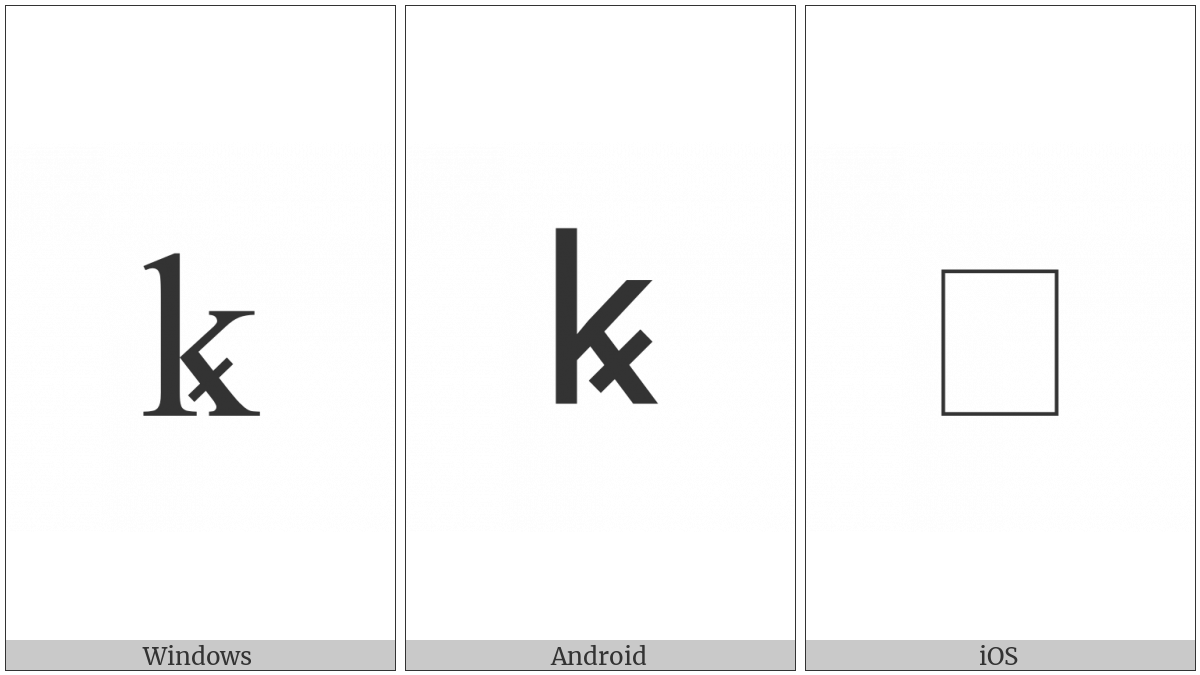 Latin Small Letter K With Diagonal Stroke on various operating systems