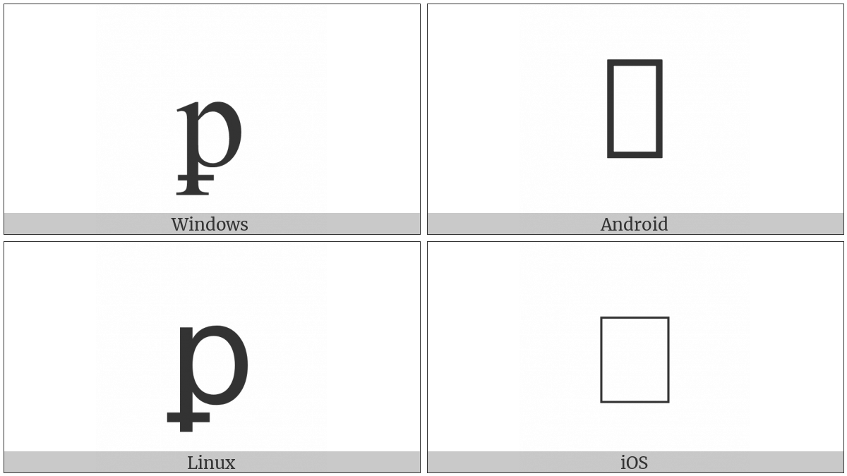 Latin Small Letter P With Stroke Through Descender on various operating systems