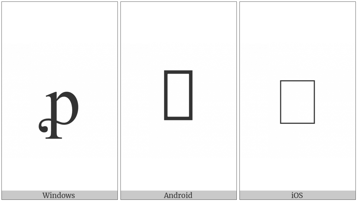 Latin Small Letter P With Flourish on various operating systems