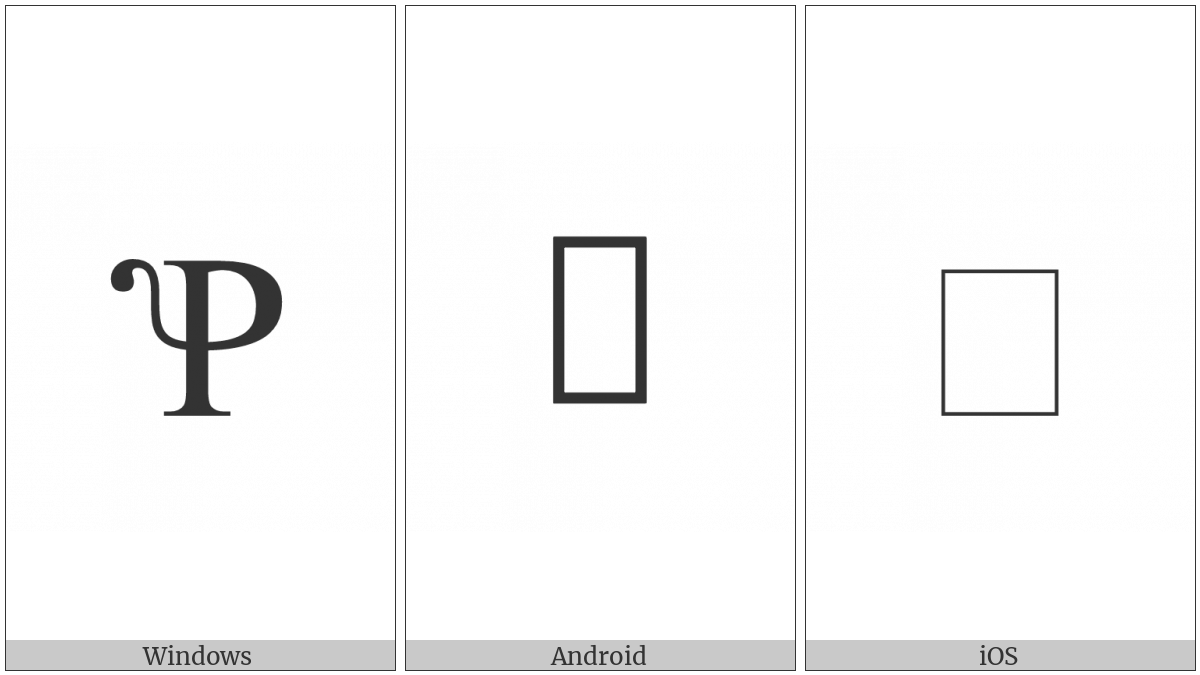 Latin Capital Letter P With Squirrel Tail on various operating systems