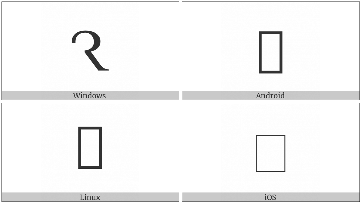 Latin Capital Letter R Rotunda on various operating systems