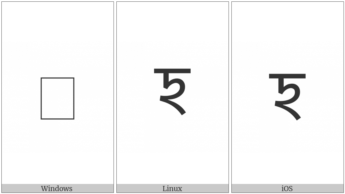 Syloti Nagri Letter I on various operating systems