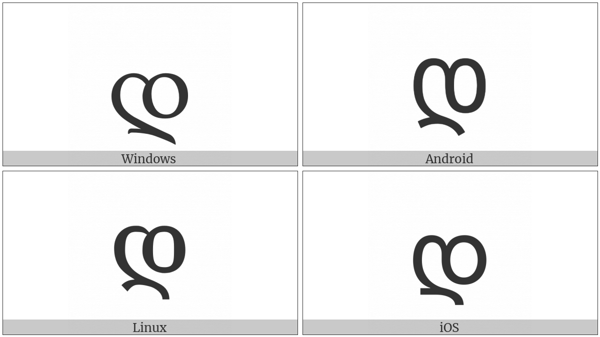 Georgian Letter Don on various operating systems