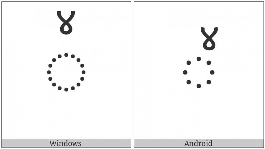 Combining Devanagari Digit Four on various operating systems