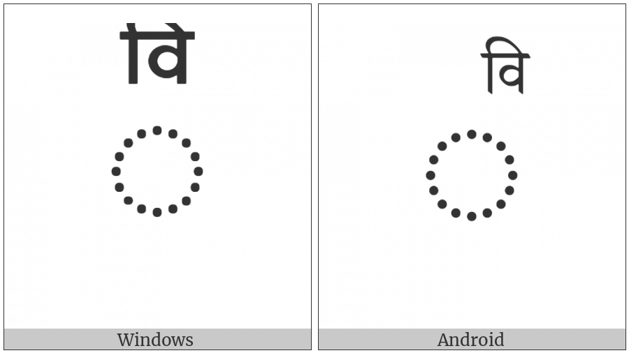 Combining Devanagari Letter Vi on various operating systems