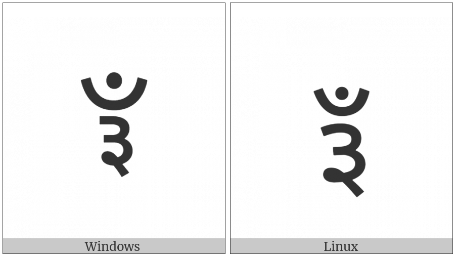Devanagari Sign Candrabindu Three on various operating systems
