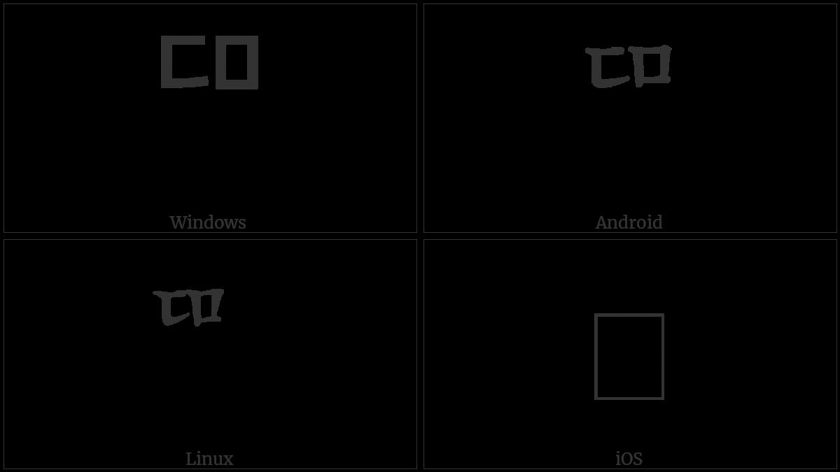 Hangul Choseong Tikeut-Mieum on various operating systems