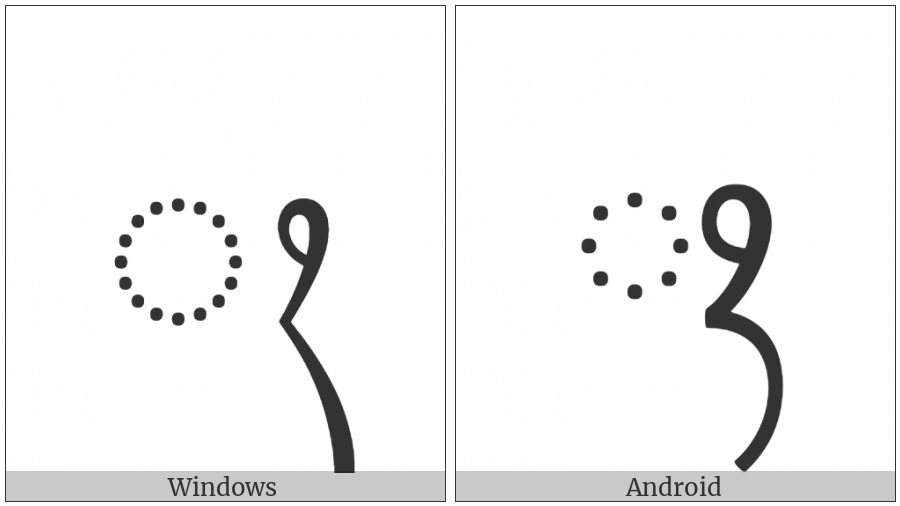 Javanese Sign Wignyan on various operating systems