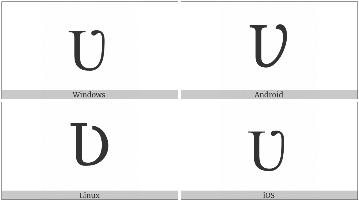Latin Capital Letter V With Hook on various operating systems