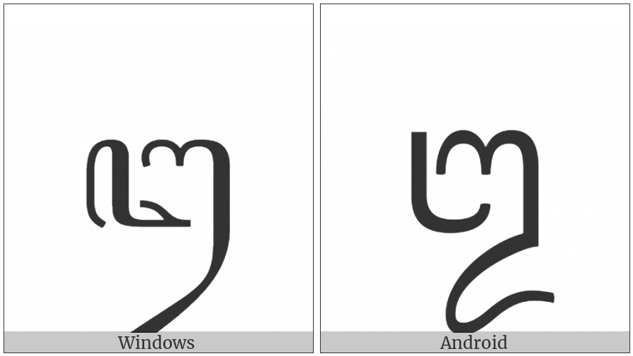 Javanese Letter U on various operating systems