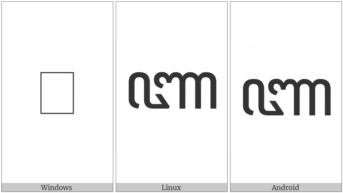 Javanese Letter Nya on various operating systems