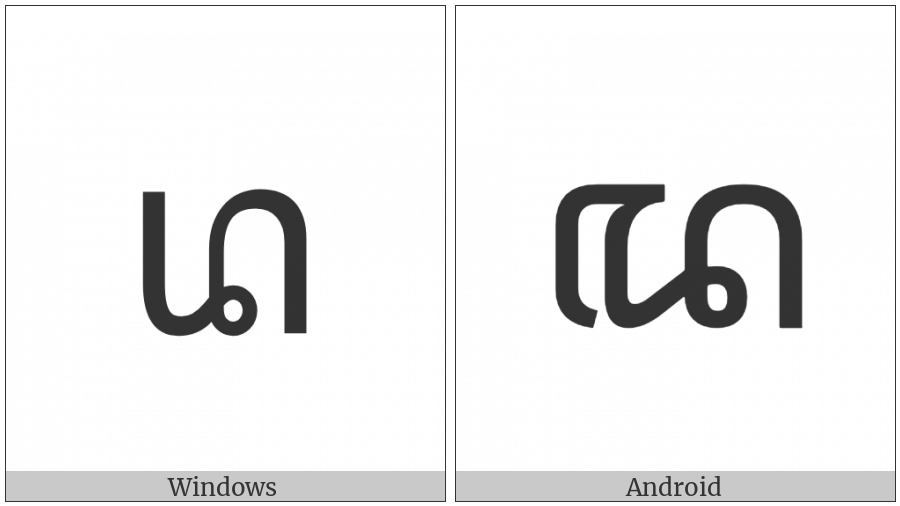 Javanese Letter Da on various operating systems